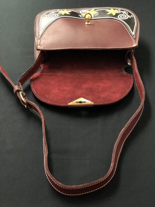 Burgundy with Gold Rose Embroidered Purse