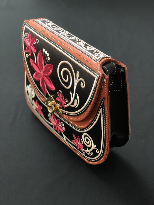 Black With Pink Rose Embroidered Purse