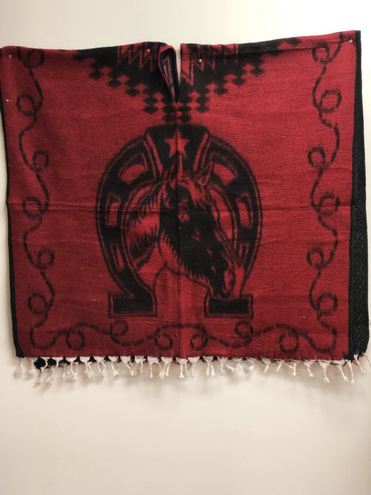 Red and Black Horse Poncho/Gaban
