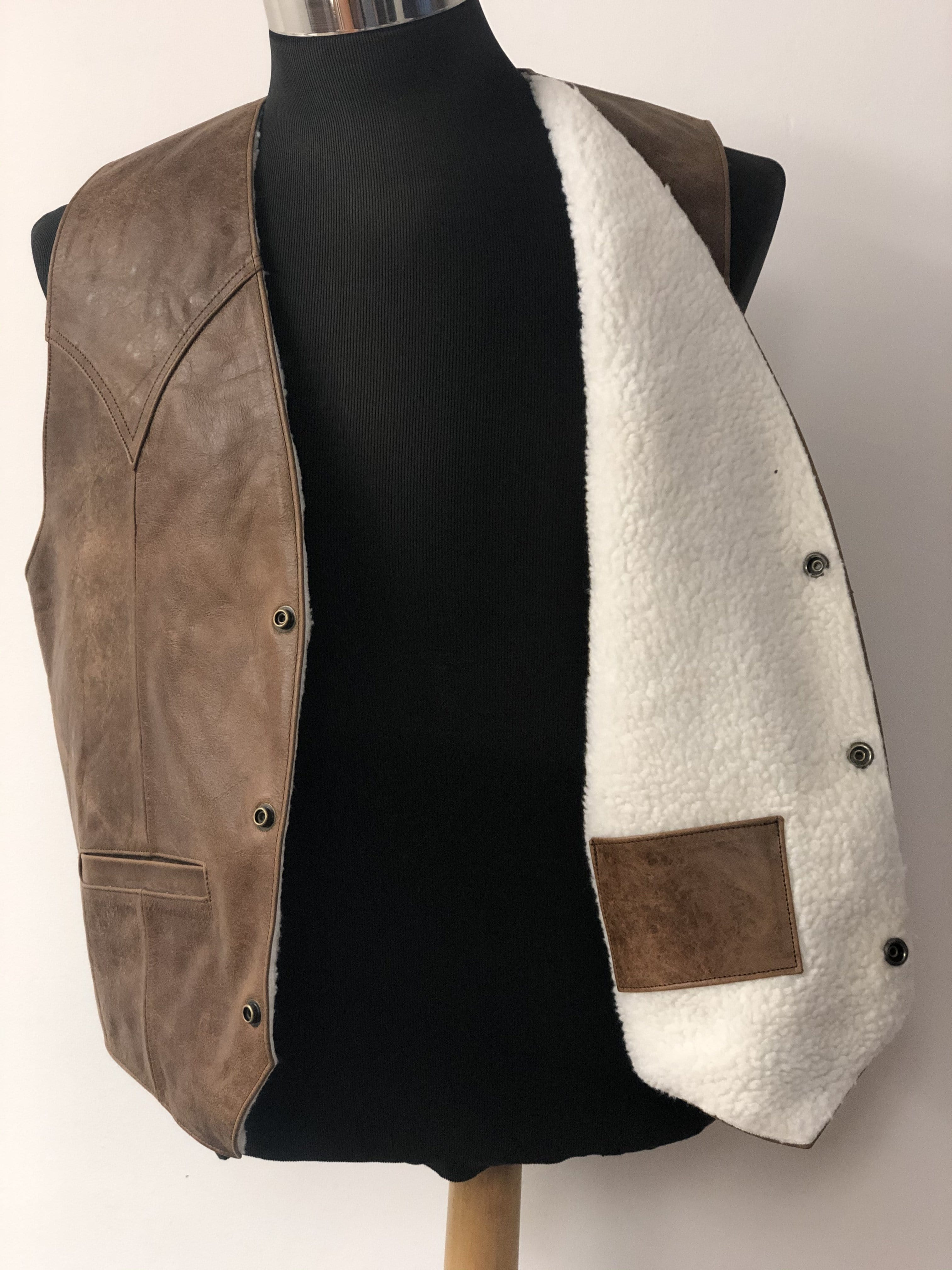 Brown with White Fur Cowboy Western Vest