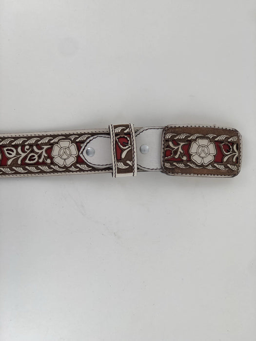 White with Brown and Red Flower Chiseled Charro Leather Belt