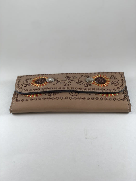 Beige with Sunflower Embroidery Leather Wallet