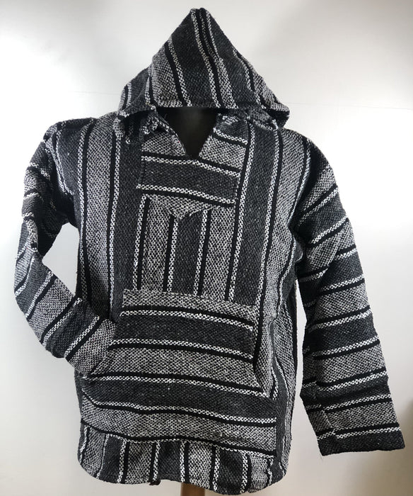 Baja Hoodie Grey and Light Grey with Black and White Lines 008
