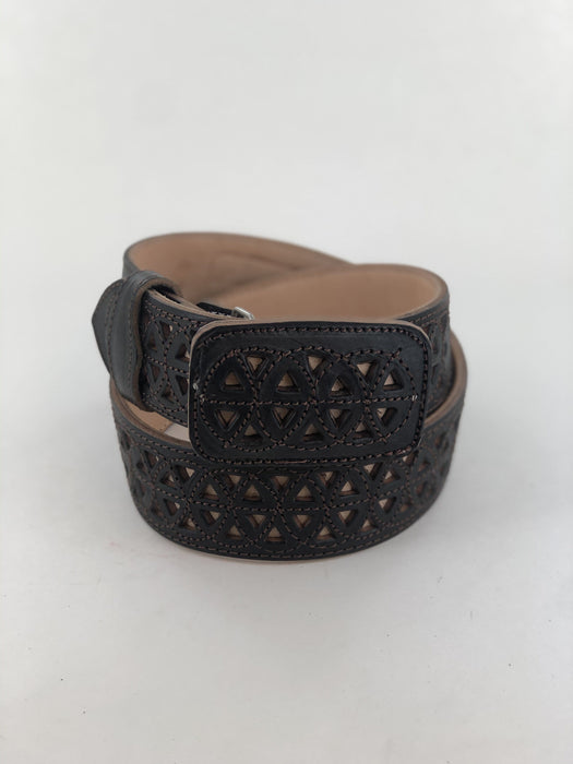 Black and Beige Infinite Chiselled Charro Leather Belt