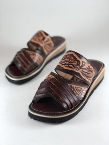 Leather Sandal - Brown Slides V3 - CLEAR