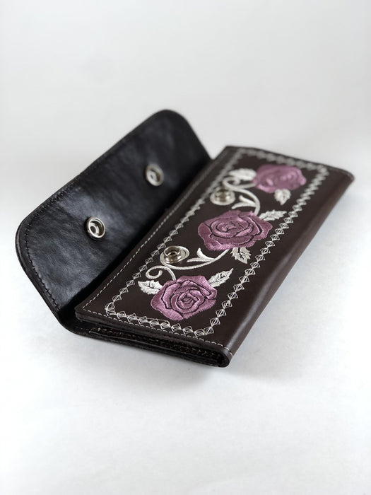 Brown with Purple Roses Embroidery Leather Wallet