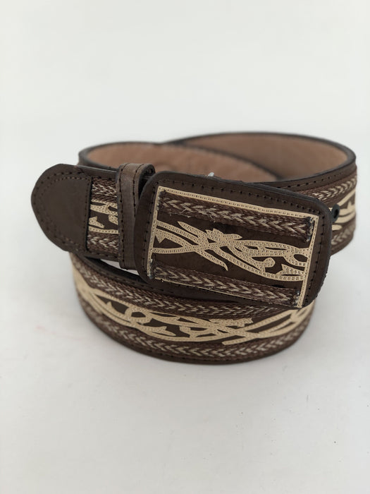 Brown and Beige Sintilla Chiseled Charro Leather Belt