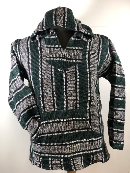 Baja Hoodie Green and Grey with White and Black Lines 023