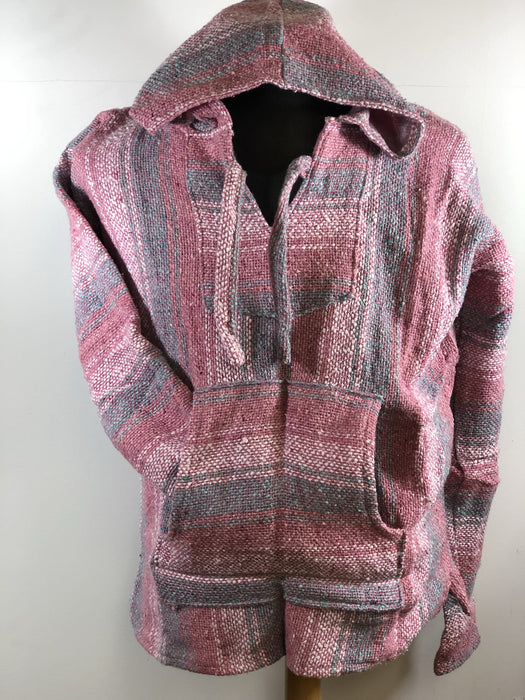 Baja Hoodie Pink with White and Blue Lines 018