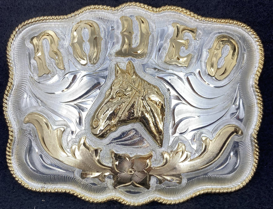 Rodeo Rec Rope Edge Cowboy Western Wear Buckle (Large)
