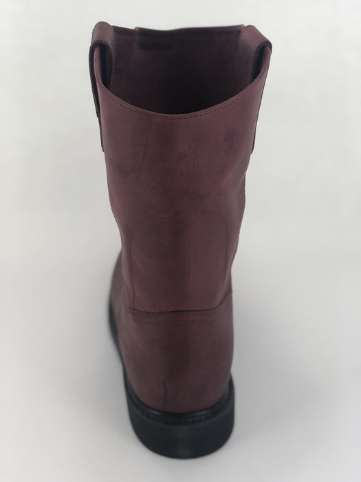 Burgundy Roper Rubber Sole Work Boot