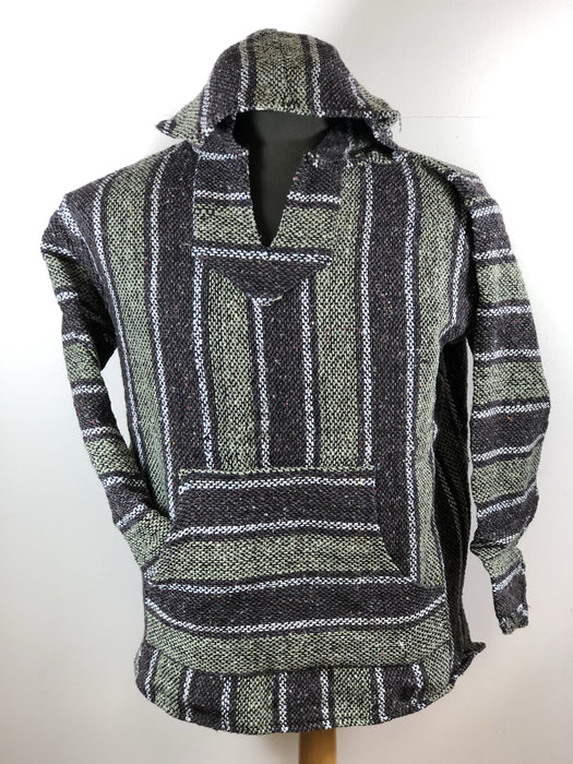 Baja Hoodie Grey and Light Green with White Lines 037
