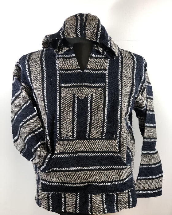 Baja Hoodie Navy Blue and Beige with Black and White Lines 020