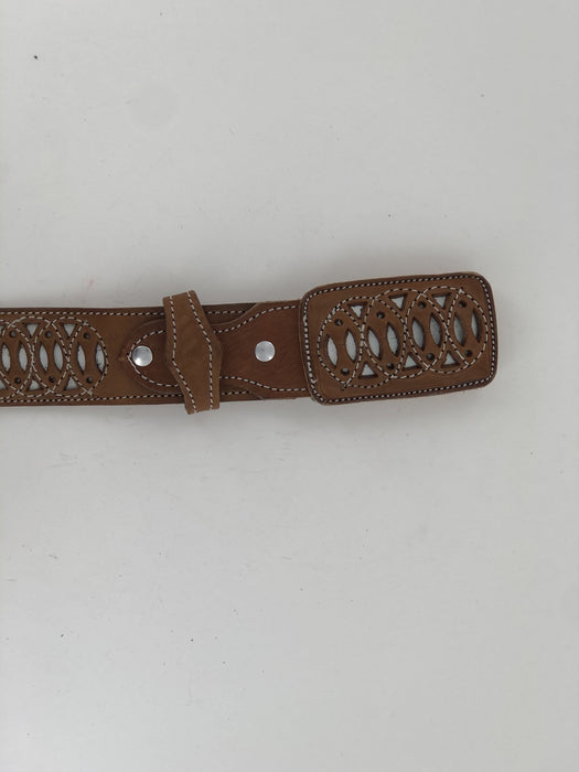 Chedron and White Infinite Chiseled Charro Leather Belt