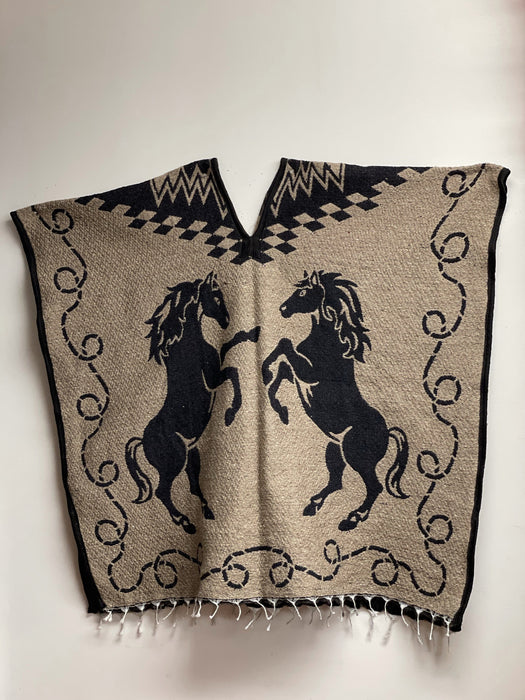 Black and Brown Horse Poncho/Gaban