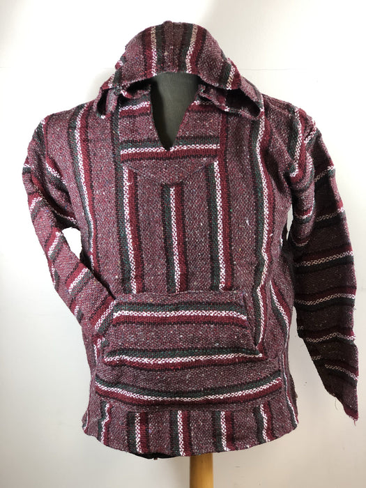 Baja Hoodie Burgundy with White, Green, Red and Black Lines   043