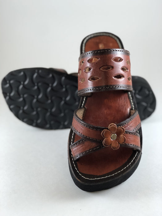 Leather Sandal - Brown Slides Flower in Middle - CLEAR