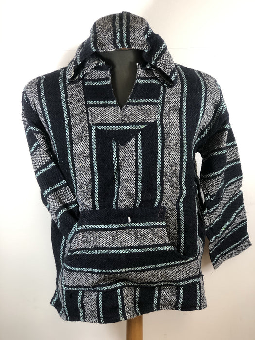Baja Hoodie Navy Blue and Grey with Turquoise Lines 050