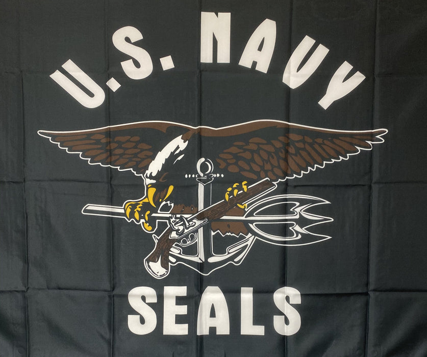 Collectible Large War Veterans Flag U.S. Navy Seals