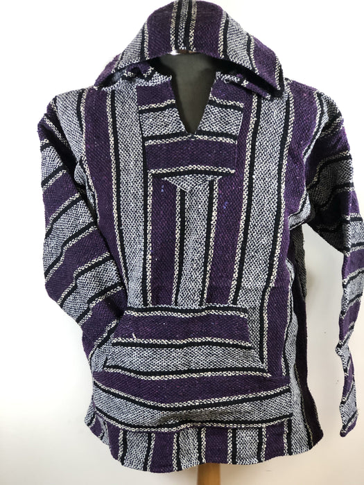 Baja Hoodie Light Grey and Purple with Beige and Black Lines 067