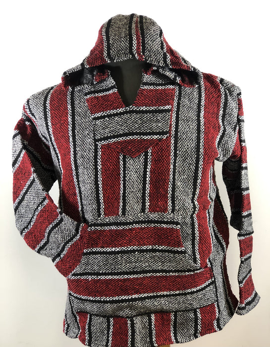 Baja Hoodie Grey and Red with White and Black Lines 019
