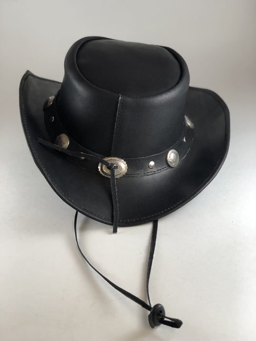 Black Safari Aussie Indiana Jones Style Leather Hat Buffalo Nickel Metal Concho
