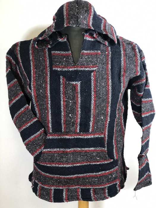 Baja Hoodie Navy Blue and Grey with Red and White Lines 054