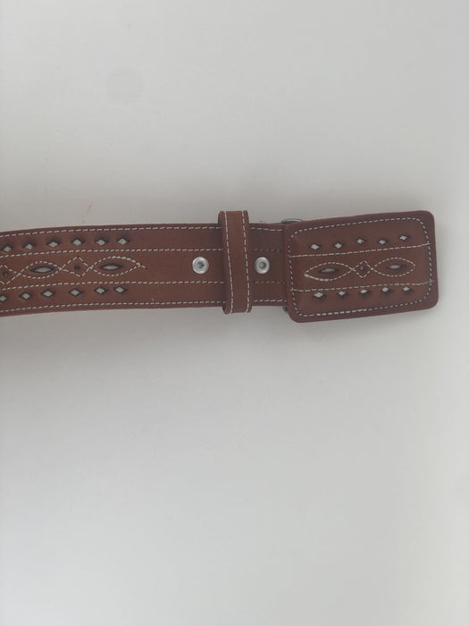 Chedron Diamonds Design Chiselled Charro Leather Belt