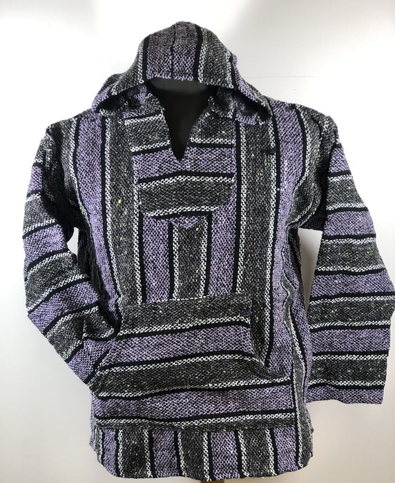 Baja Hoodie Grey and Violet with Black and White Lines 028