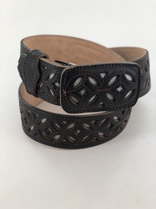 Black and White with Brown Infinite Chiselled Charro Leather Belt