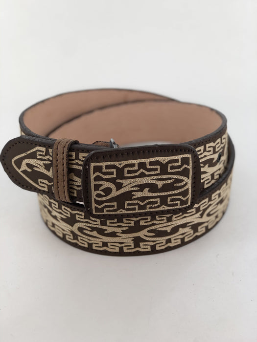 Brown and Beige Breeze Grecca Chiseled Charro Leather Belt