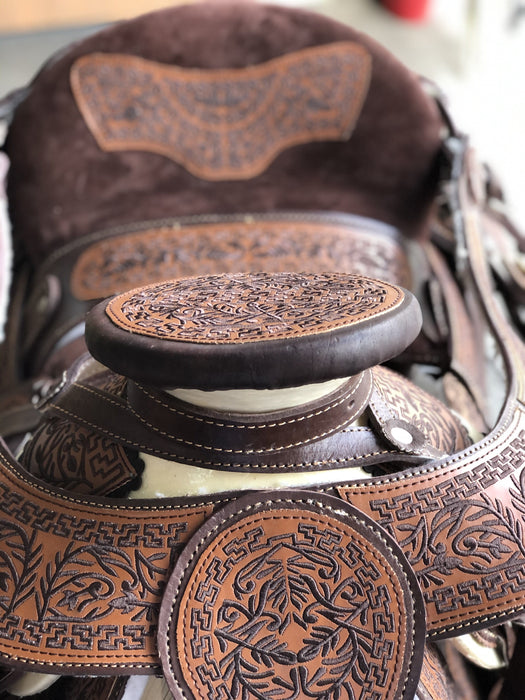 Brown Horse Embroidery Silk Thread Horse Saddle