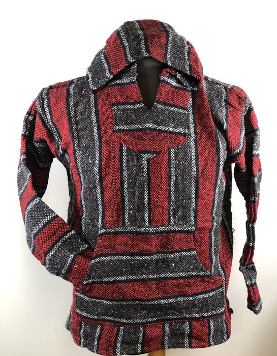 Baja Hoodie Grey and Red with Navy Blue and White Lines 013