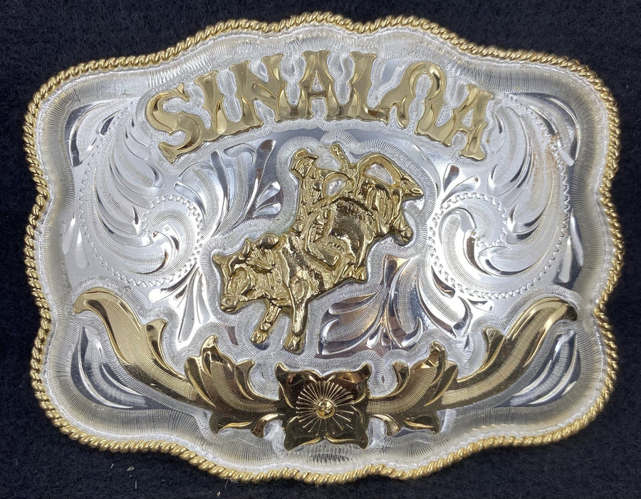 Sinaloa Rec Rope Edge Cowboy Western Wear Buckle (Large)