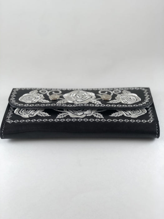 Black and White Roses Embroidery Leather Wallet