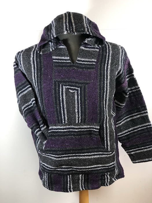 Baja Hoodie Dark Grey and Purple with Navy Blue and White Lines 046