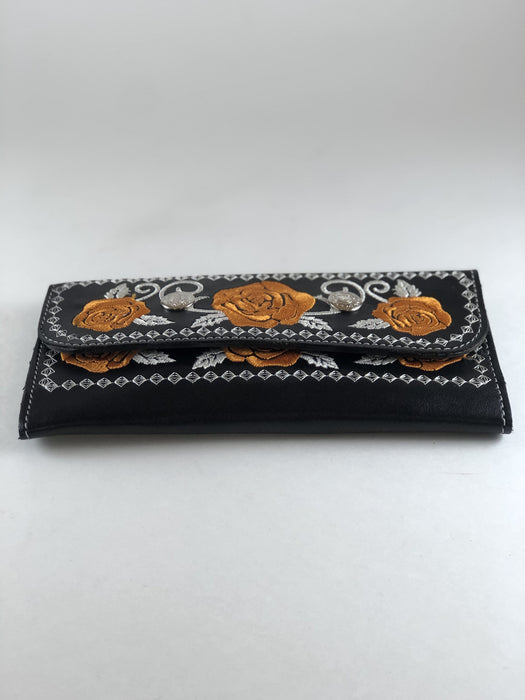 Black with Dark Yellow Embroidery Leather Wallet
