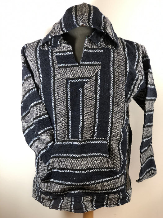 Baja Hoodie Grey and Navy Blue with Black and Light Blue Lines 063