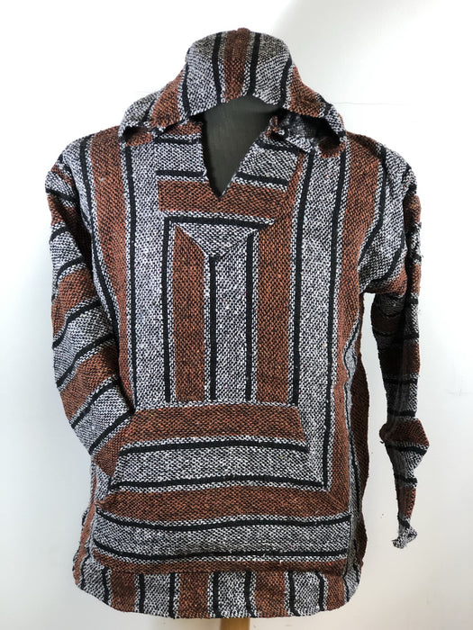 Baja Hoodie Light Grey and Bronze with Black Lines 059