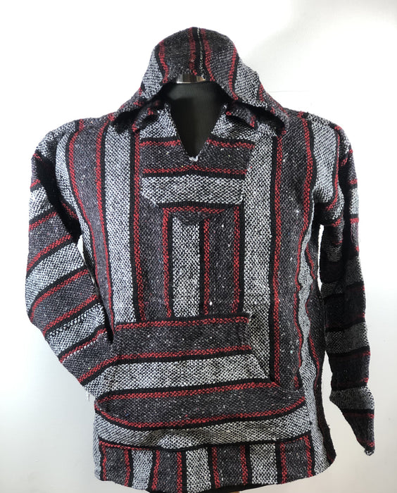 Baja Hoodie Dark Grey and Light Grey with Red and Black Lines 022