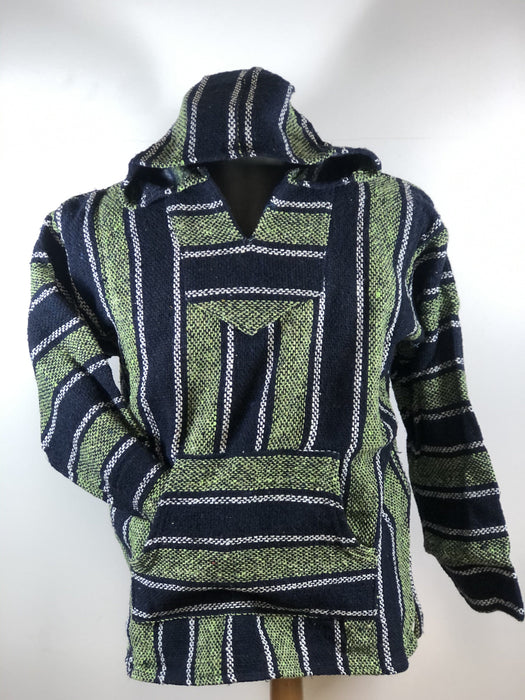 Baja Hoodie Navy Blue and Light Green with White Lines  026