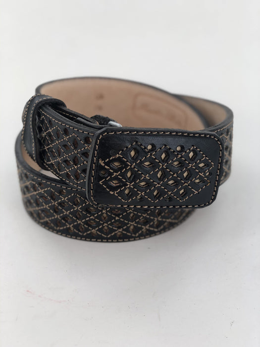 Black and Beige Full Diamonds Chiselled Charro Leather Belt