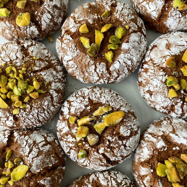 Pistachio-Topped Chocolate Coffee Cinnamon Cookies