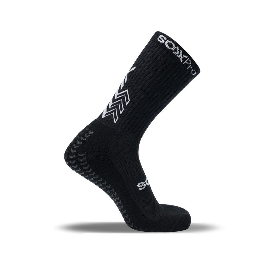 SoxPro Grip Sock Anti-Slip Crew Black Performance Sock