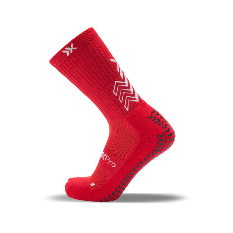 SoxPro Grip Sock Anti-Slip Crew  Red Performance Socks