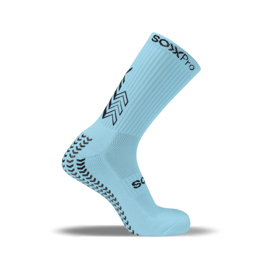 SoxPro Grip Sock Anti-Slip Crew Sky Blue Performance Socks