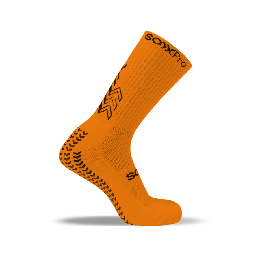 SoxPro Grip Sock Anti-Slip Crew  Orange Performance Socks