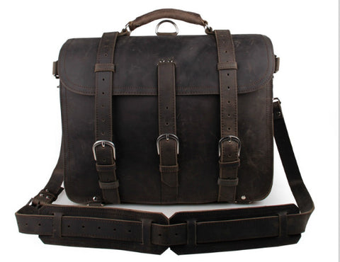 Genuine Leather men's bag wholesale cool leather men bag crazy horse  retro men's shoulder Messenger bag