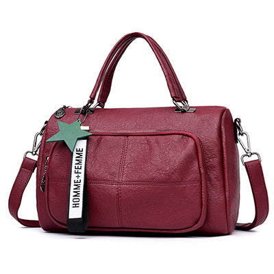 YASICAIDI Sheepskin Women Handbags Female Star Tassel Pendant Women Boston Bags Large Women Messenger Bags Retro Women Bags Sac