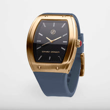 Exclusive and minimalistic gold watch Edvard Erikson watch E2 Brushed Gold Blue Sky Edvard Erikson Watches is a Swedish watch brand made of Stainless steal 316L. Our E2 Watch is an elegant and luxury square shape watch for all occasions. Discover the complete collections of Edvard Erikson watches online.